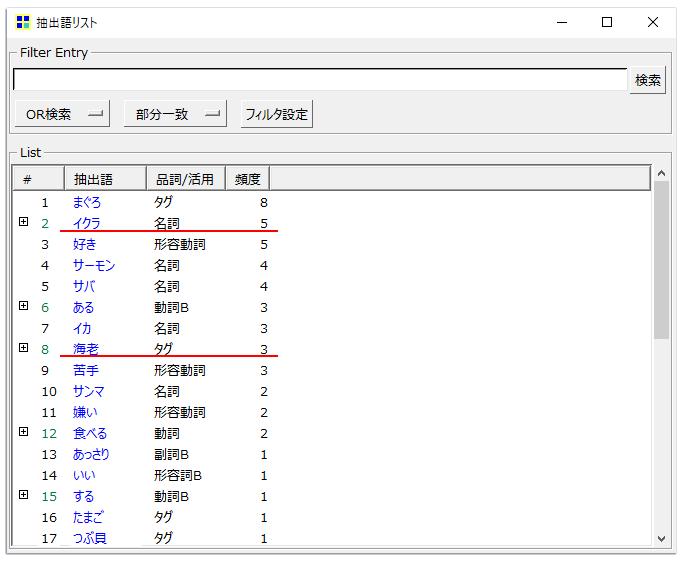 KHcoder 抽出語リスト(Excel出力)