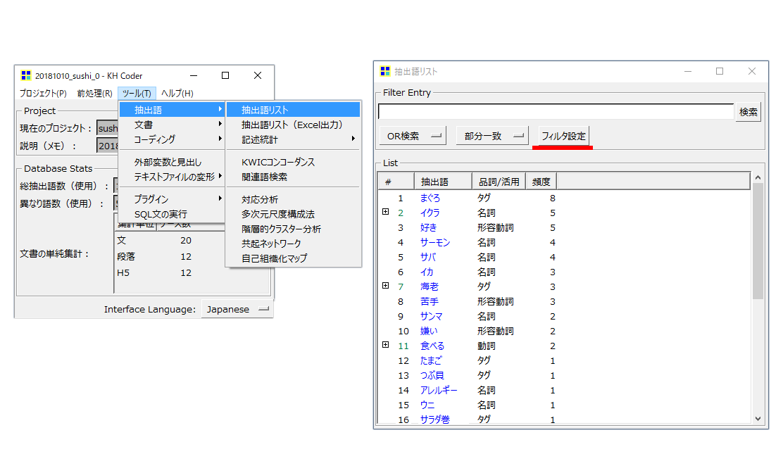 KHcoder 抽出語リスト