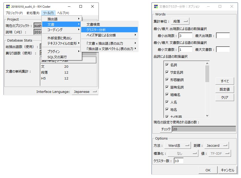 KHcoder クラスター分析(文書)