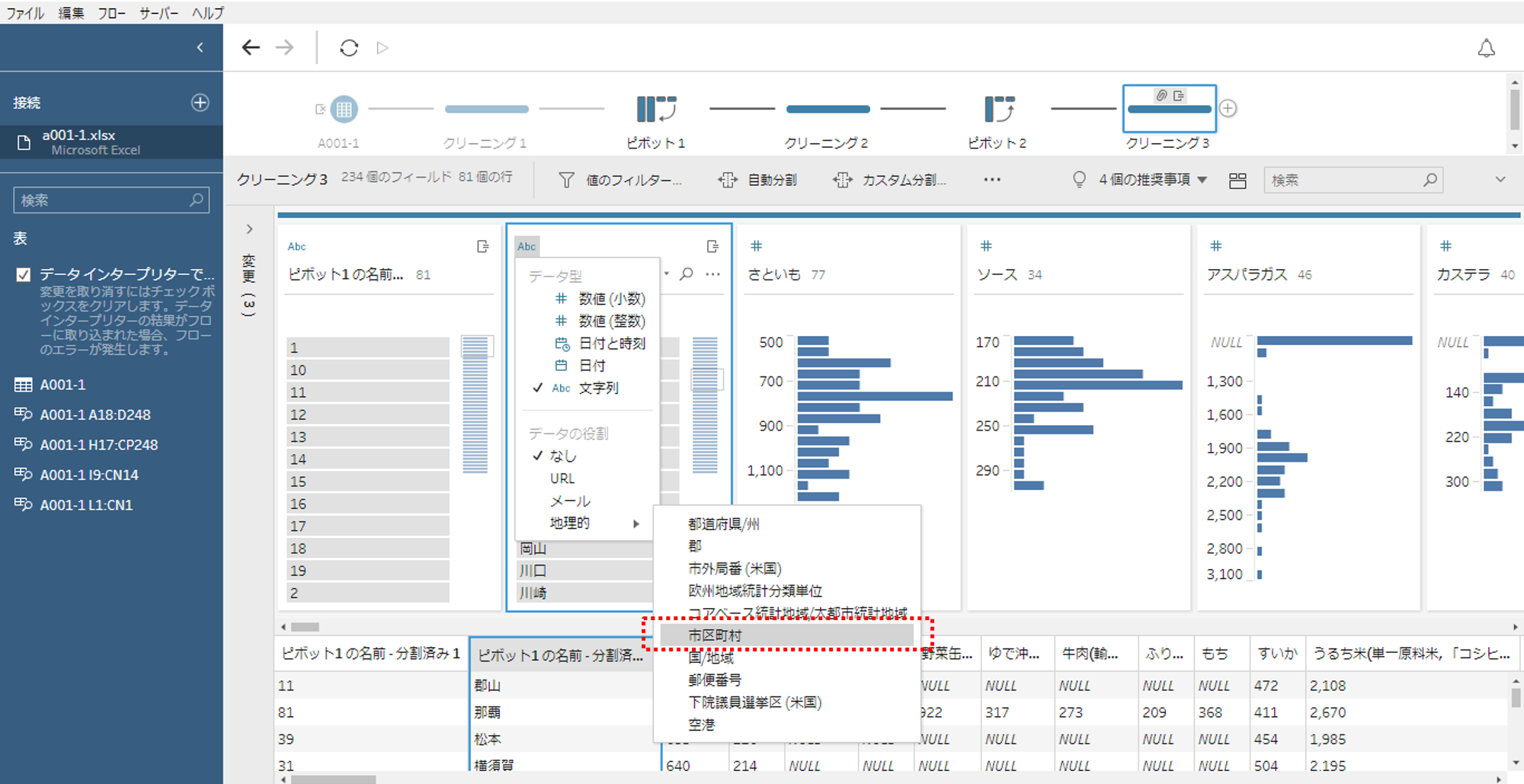 Tableau Prep データ型変換